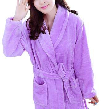e055689d93 Femaroly Nightgowns Robe for Women Autumn Winter Flannel Bathrobe  Thickening Long Dressing Gown M