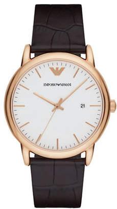 Emporio Armani Analog Dress Luigi Goldtone Embossed Leather Strap Watch