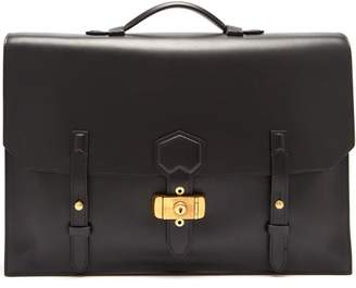 Dunhill Duke Flap Leather Briefcase - Mens - Black