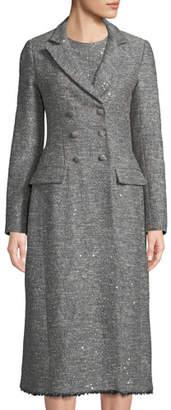 Lela Rose Double-Breasted Seamed Tweed Coat w/ Fringe Hem