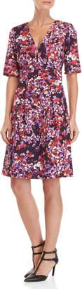 Carolina Herrera Floral Surplice Short Sleeve Dress