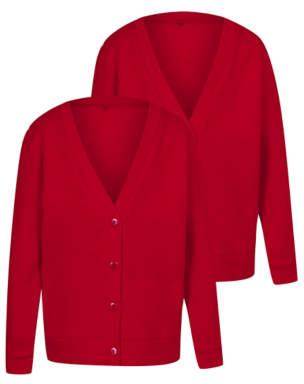 George Girls Red Jersey School Cardigan 2 Pack
