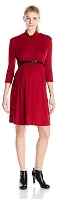 Three Seasons Maternity Women's 3/4 Sleeve Mock Solid Dress