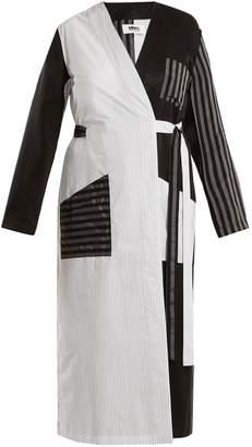 MM6 MAISON MARGIELA Contrasting-stripe cotton-poplin long jacket