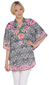 Tolani Collection Printed Mandarin Collar WovenCaftan Tunic