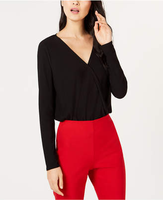 INC International Concepts I.n.c. Long-Sleeve Surplice Bodysuit, Created for Macy's
