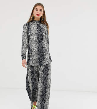 Verona high neck long sleeved two-piece top in python print