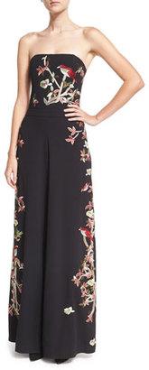Alice + Olivia Raven Strapless Embroidered Wide-Leg Jumpsuit, Black/Multicolor $995 thestylecure.com