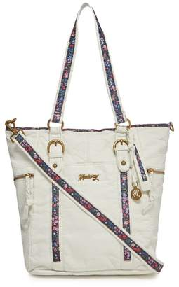 Mantaray White Floral Inlay Shoulder Bag