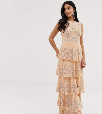 c1b8d78c Maya Petite all over embellished tiered maxi dress in soft peach