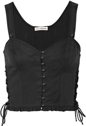 Ulla Johnson Thea Lace-up Twill Bustier Top - Black