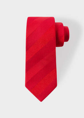 Paul Smith Men's Red Diagonal Textured-Stripe Narrow Silk Tie
