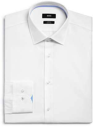 BOSS Solid Contrast Cuffs Slim Fit Dress Shirt