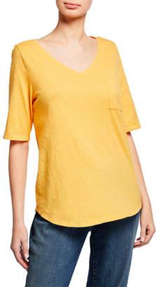 Eileen Fisher Organic Cotton V-Neck Elbow-Sleeve Slub Jersey Tee