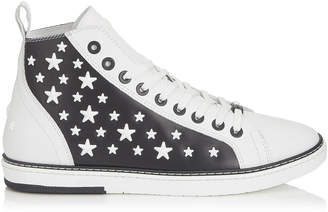 Jimmy Choo COLT White Leather High Top Trainers with Black Matte Enamel Stars