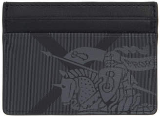 Burberry Grey and Black London Check EKD Card Holder