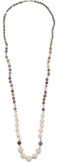 "Chan LuuChan Luu 38"" Graduated Pearl and Semi Precious Stone Necklace"