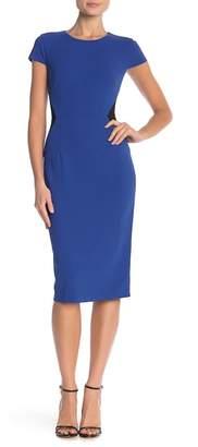 Donna Morgan Short Sleeve Colorblock Crepe Dress