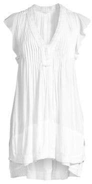 Poupette St Barth St Barth Women's Sasha Lace-Trim Mini Dress - White - Size Large