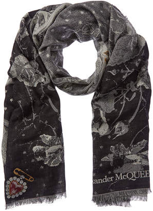 ba7ed5a33 Alexander McQueen Skeleton Bride Silk & Wool-Blend Scarf