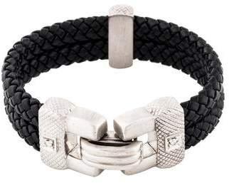 Judith Ripka 18K Diamond Woven Leather Bracelet