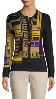 Versace Geometric-Print Cotton Cardigan