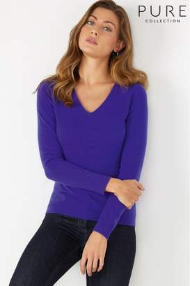 Womens Pure Collection Purple Cashmere Slim Fit V-Neck Sweater - Purple