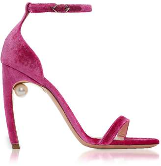 Nicholas Kirkwood Fuchsia Velvet 105mm Mira Pearl Sandals
