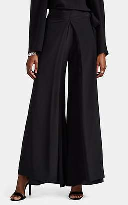 BY. Bonnie Young Women's Draped Silk Satin Wide-Leg Pants - Black