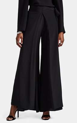 BY. Bonnie Young Women's Draped Silk Satin Wide-Leg Pants - Black