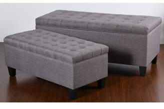 Andover Mills Polley 2 Piece Tufted Upholstered Storage Bench Set