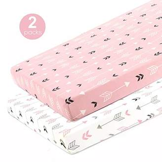 N. Stretchy Fitted Pack Play Playard Sheet Set-Brolex 2 Pack Portable Mini Crib Sheets