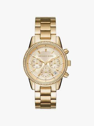 Michael Kors Ritz Pave Gold-Tone Watch