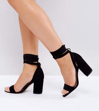 0c71ed64e3ff Asos Design DESIGN Wide Fit Howling tie leg Block Heeled Sandals