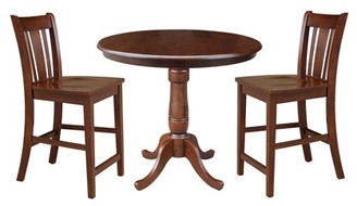 "INC International Concepts 36"" Round Top Pedestal Counter Height Table with 2 San Remo Stools - Espresso - 3 Piece Set"