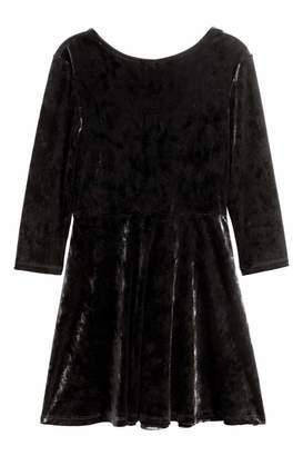 H&M Long-sleeved Velour Dress