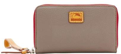 Dooney & Bourke Patterson Leather Zip Around Phone Wristlet - TAUPE - STYLE