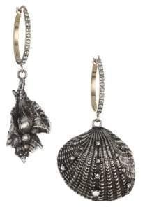 Alexander McQueen Swarovski Crystal& Silvertone Shell Drop Earrings