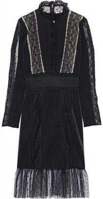 Pierre Balmain Ruffled Lace Point D'esprit And Stretch-Knit Dress