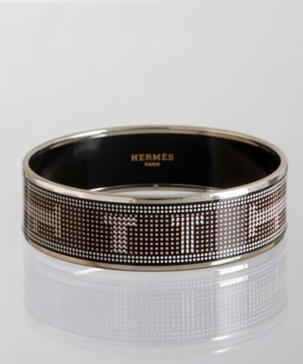 Hermes black enamel pixelated 'Recherche' medium bangle