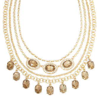 clear MONET JEWELRY Monet Champagne and Crystal Layered Necklace