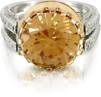 Tryò Gold Champagne Cubic Zirconia Sterling Silver & Rose Gold Ring