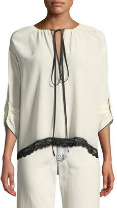 Marc Jacobs 3/4-Sleeve Tie-Neck Silk Blouse w/ Lace Trim