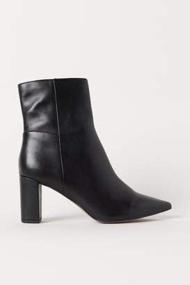 H&M Block-heeled Ankle Boots - Black