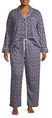 Karen Neuburger Plus Two-Piece Floral-Print Pajama Set