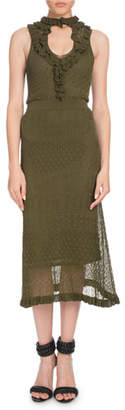 Altuzarra Butterfield Sleeveless Ruffled Pointelle Knit Midi Dress