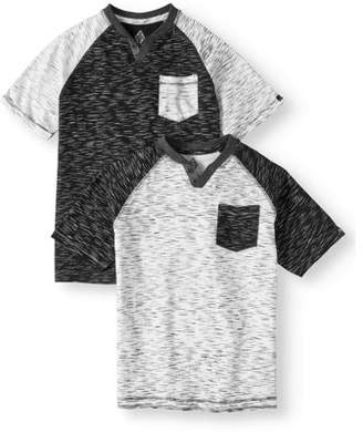 SWISS CROSS Short Sleeve Two Color Marled V-Notched Crew Jersey Tee, Value 2 Pack (Big Boys)