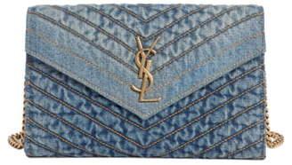 Saint Laurent Matelasse Denim Wallet on a Chain