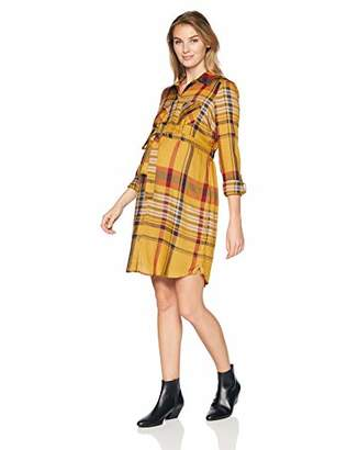 Motherhood Maternity Women's Maternity Plaid Button Down Shirt Dress with Waist Tie