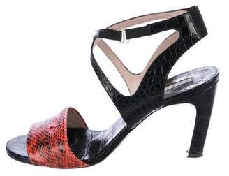 Dries Van Noten Snakeskin-Trimmed Ankle Strap Sandals